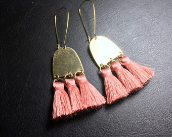 brass earrings, half moon earrings, silk pink tassel earrings, brass ear hooks