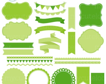 Borders, Banners & Frames Clipart Set - green frames, tags, borders clip art set - personal use, small commercial use, instant download