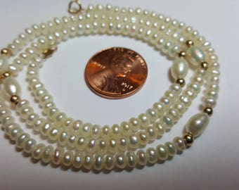 Vintage Fresh Water Pearl Necklace With 14k Clasp