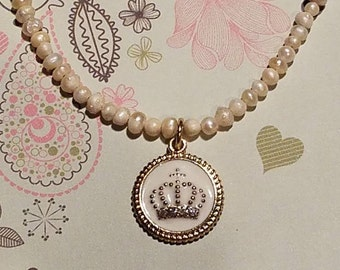 Pearl Necklace with Crown