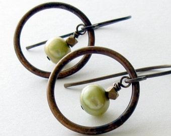 Drop Circle Earrings, Green Pearl Earrings, Drop Dangle Earrings, Drop Earrings, Gift for Her Jewelry