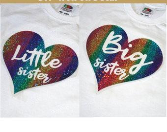 Little Sister Iron On, Big Sister Iron On, Mom, Dad, New Big Sister, New Baby, Rainbow Glitter Iron On, Shirt, Diy heat transfer vinyl decal