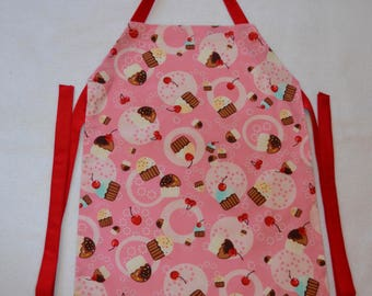 Pink Cupcake Cherry On The Top Girl's Apron
