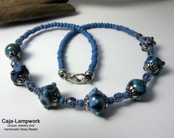 Jeans Blue Lampwork necklace, short, discreet