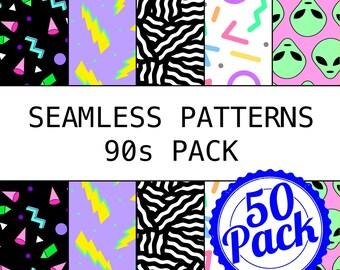 Printable Seamless Patterns - 90s Pack - Digital Scrapbook Paper