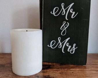 Mr Mrs Vintage Book Wedding Sign - Green - Works of Edgar Allan Poe Book