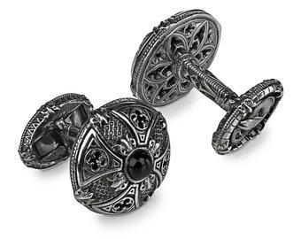 Silver Cuff-links Black Onyx Hand-made