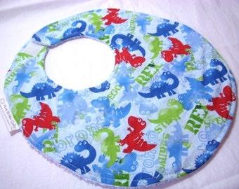 Dinosaurus Rex  - Boutique Bib - terry cloth backing