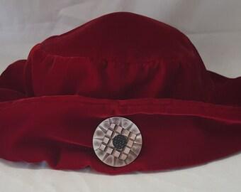 1920's Red Velvet Cloche Hat with Embellishment