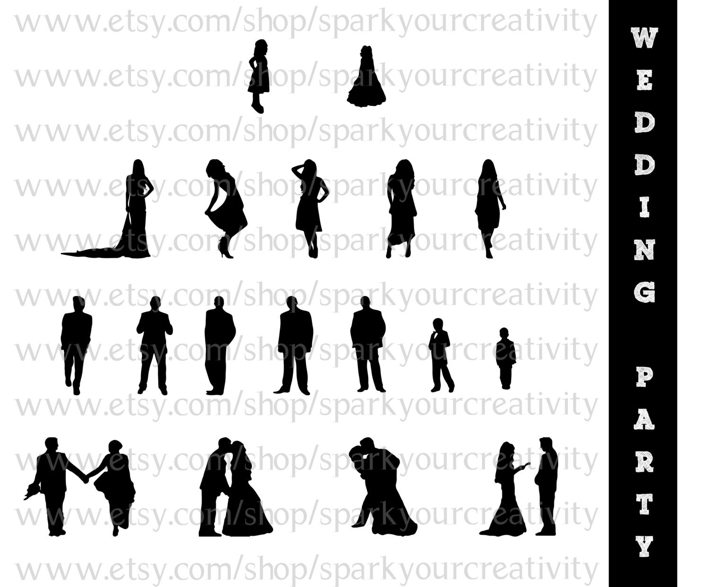 wedding party silhouettes wedding bride bridesmaid rh etsy com Person Silhouette Person Silhouette