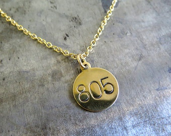 Area Code Engraved Brass Charm Necklace - Represent Your Home Town