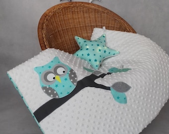 Plaid OWL on a branch patchwork Mint
