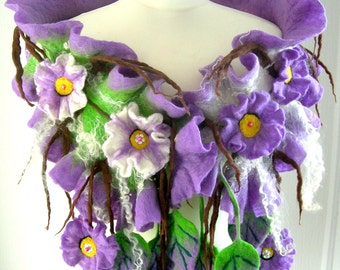 Felted, Wool Jewelry felted woman ART scarf  ,shawl-SPRING BLOSSOM  -