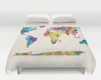 World map duvet etsy world map duvet cover colorful geometric map modern bedroom travel decor gumiabroncs Image collections