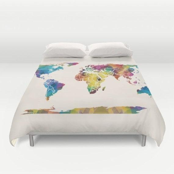 dans le monde carte housse de couette carte g om trique. Black Bedroom Furniture Sets. Home Design Ideas
