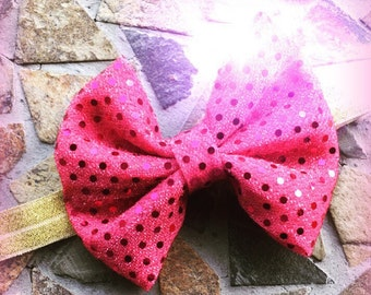 Pink Glitter Bow and Gold Sparkle Headband Set