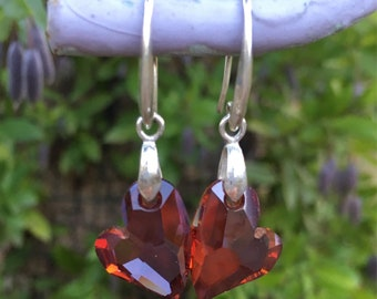 Red Magna Heart Swarovski Earrings Sterling Silver