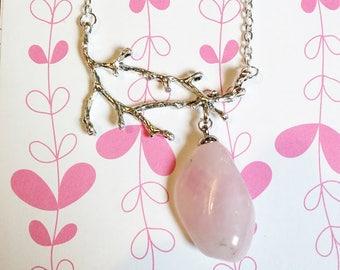 Elven Necklace: Cleo (genuine Rose Quartz)