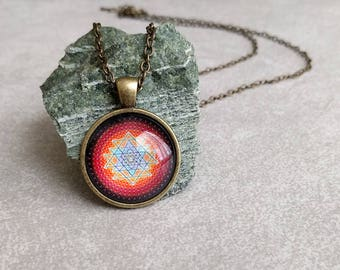 Sacred Geometry Necklace - Mandala Art Pendant Antiqued Brass with Link Chain Necklace Included - Yoga Gifts