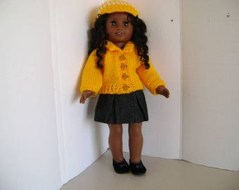 """Handmade Cardigan Sweater Outfit for """"Cecile"""" A.G. Doll and all 18"""" Dolls"""