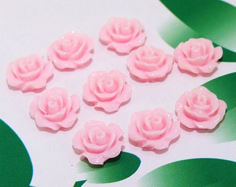 Pink Resin flowers 10mm Carved flower beads --- 10Beads