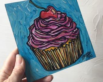 Pink Cupcake with Cherry original painting