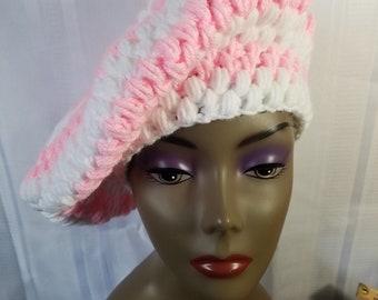 Malanda's Sunflower Beret | Crochet | Handmade | Hat | Winter Wear | Pink | White | Ribbing | Classy | Textured | Elegant | Beret | Tam