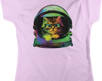 Space Kitten, Rainbow Astronaut Helmet, Galaxy Women's T-shirt, NOFO_00371