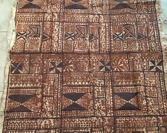 Antique South Pacific Large Bark Tapa, Handmade, Ancient Art Form, Wall Hanging