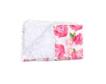 Pink Peonies Blanket, Minky Baby Blanket, Floral Baby Blanket, Pink Baby Blanket, Newborn Blanket, Peonies Blanket, Baby Cloud Blanket