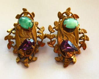 Peking Glass and Amethyst Tear Drop  Vintage Victorian Style Revival Ornate Filigree Gold Wash Clip Earrings