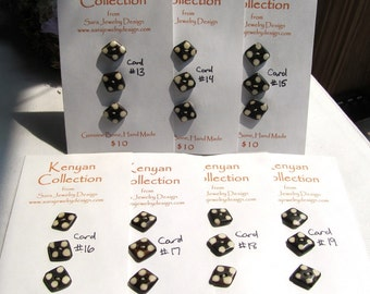 Kenyan Handmade Batiked Bone Buttons, Card of Three, Spotted Diamond Shapes
