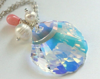 Seashell Crystal Necklace. Swarovski Elements Necklace with Pink Coral Teardrop and Pearls. Handmade Jewellery.