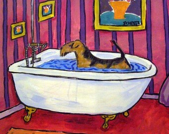 Airedale Terrier Taking a Bath Dog Art Tile Coaster Gift