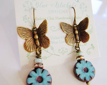 Brassr Butterfly Earrings, Dangle Drop, Brrass Butterfly Charm, Insect, Woodland Earrings, Blue Bead, Unique, Botanical, Redpeonycreations