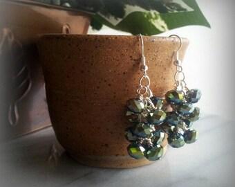 Cluster dangle earrings, boho chic, summer style
