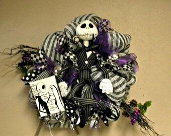 Jack Skellington Wreath, Nightmare Before Christmas Wreath, Halloween Wreath , Christmas Mesh Wreath, Jack Skellington...