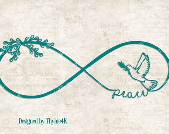 """SVG Digital Design """"peace"""" Infinity -Includes svg, dxf, eps, png and jpeg formats."""