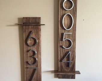 House Numbers (Vertical) Metal Numbers on Wooden Plaque. Made to Order.