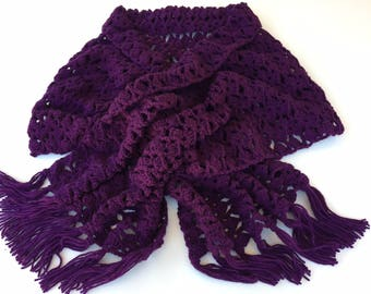 READY TO SHIP/Wrap/Crochet Scarf/Shawl/Ladies Wrap/Violet/Purple/Knit Wrap/Extra Long/Wide/Adult/Women's/Ladies Lace Scarf/Fringe/Tassels