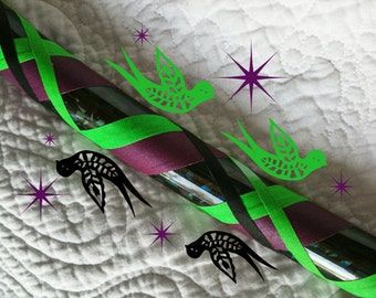 Dark Dove Dance & Exercise Hula Hoop COLLAPSIBLE Polypro, HDPE, beginner hula hoop, advanced, or weighted - black purple glitter sparkle