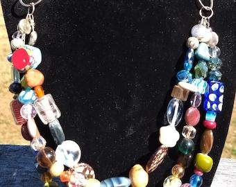 Multi stone 3 stranded necklace