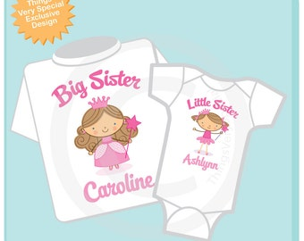Set of Two, Big Sister Shirt, and Little Sister Brown Hair Blue Eyes Princess Onesie or Shirt Set Personalized (10042013c)