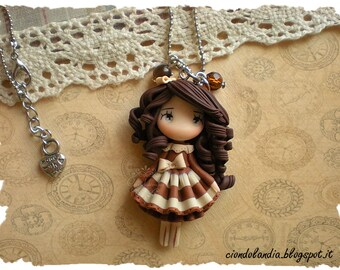 Steampunk princess doll necklace (Polymer clay)