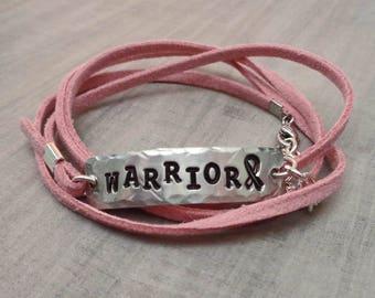 Warrior Bracelet- Survivor Wrap Bracelet -Personalized Wrap Bracelet- Cancer Survivor Bracelet-Cancer Warrior Jewelry-Your Word Bracelet-B79