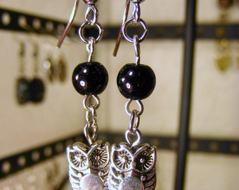 Owl and Black bead earring