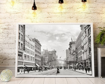 Old Columbus Ohio Photo, High Street, Early 1900s, Old Columbus Print, Historical Photographs, Black and White Photography, Wall Decor, Gift