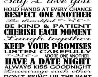 Rules for a happy marriage SVG File, Quote Cut File, Silhouette File, Cricut File, Vinyl Cut File, Stencil