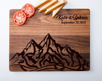 Mountain Cutting Board Engraved Cutting Board Custom Chopping Board Personalized Cutting Board Wedding Gift Housewarming Gift
