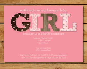 Pink and Brown Baby Shower Invitation - Baby Girl